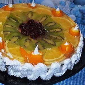 Фото – рецепт торта с фруктами и желатином