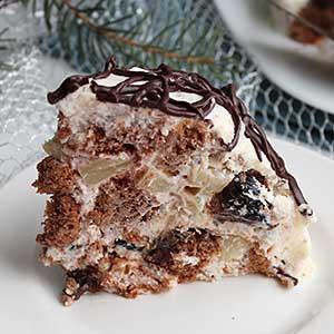 Фото – рецепт торта Кучерявый пинчер с фруктами