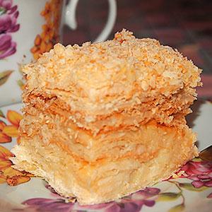 Торт Наполеон из готового слоеного теста по-быстрому - фото
