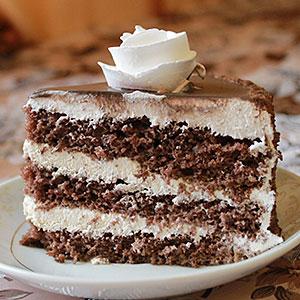Вкусный шоколадный бисквитный торт - фото