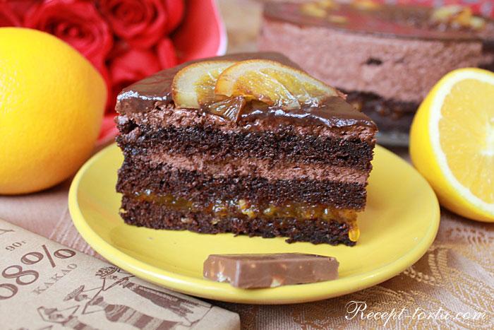 Шоколадный бисквитный торт с апельсиновой начинкой