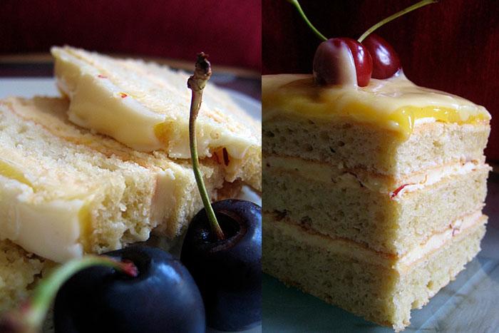 Миндальный торт в разрезе