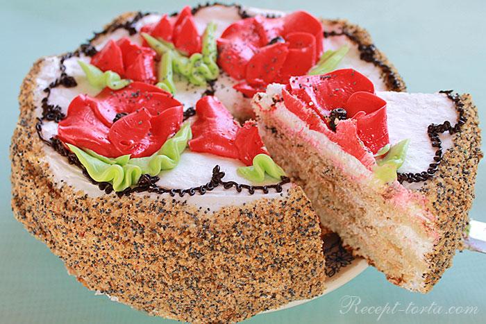 Торт с маком и кремами из сгущенки и белков