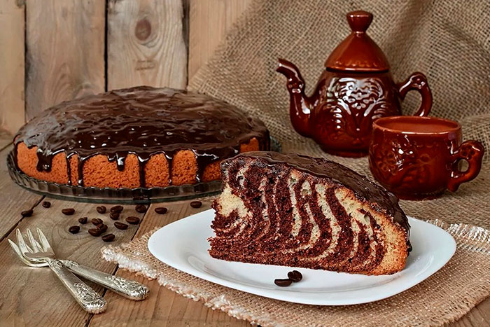 Торт Зебра  на кефире без крема - фото