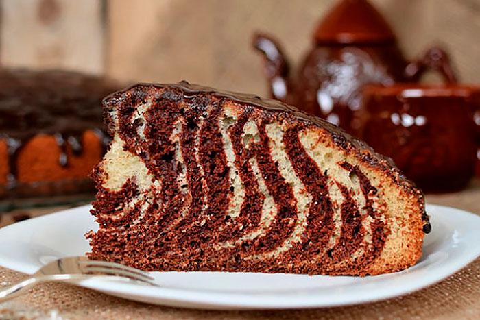 Торт Зебра  на кефире - фото в разрезе