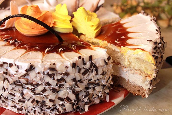 Творожный торт с масляным и творожным кремом