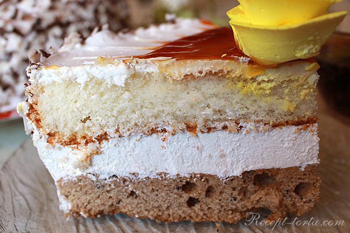 Торт с творожным кремом - фото вразрезе