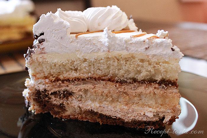Творожно-сметанный торт в разрезе - фото