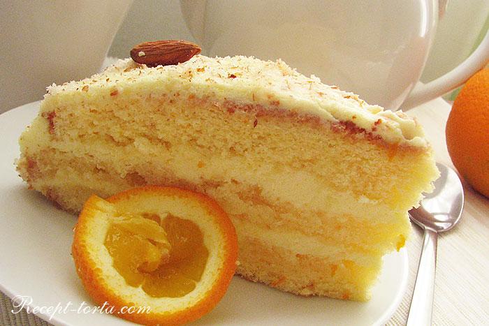 Фото апельсинового торта в разрезе