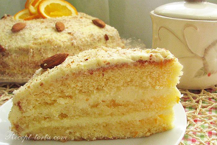 Фото кусочка апельсинового торта по рецепту сайта