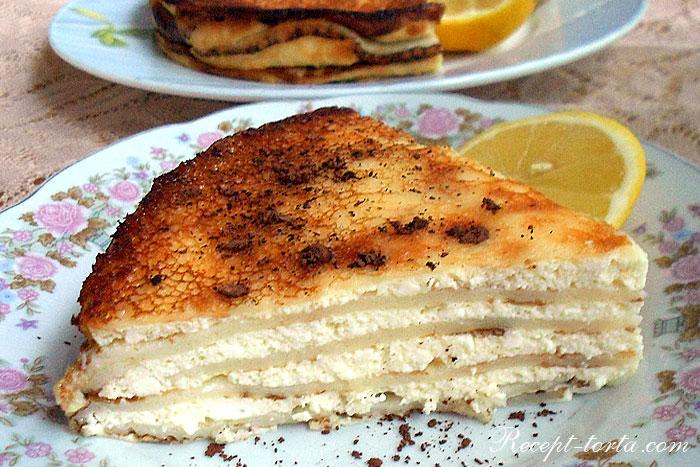 Готовый блинный торт с творожным кремом - фото