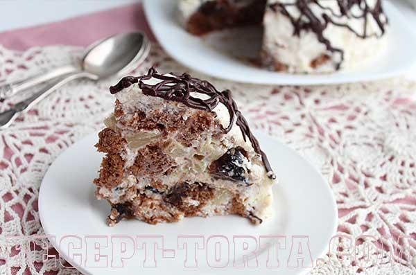 Итоговое фото торта Кучерявый пинчер  с фруктами