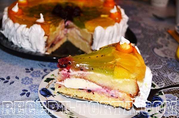 Итоговое фото торта с фруктами и желатином