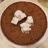 Смешиваем бисквитные кубики с кремом - фото