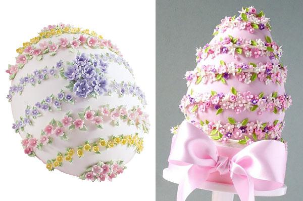 Пасхальный торт-яйцо в цветах из мастики