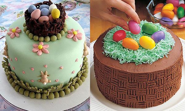 Торт-гнездо с пасхальными яйцами