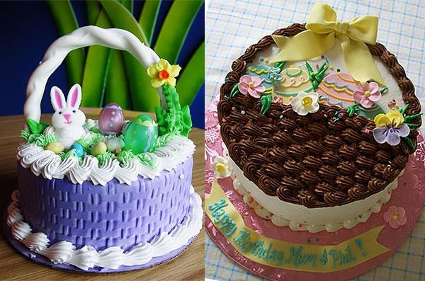 Торт-корзинка декорированная кремом и кулинарными украшениями