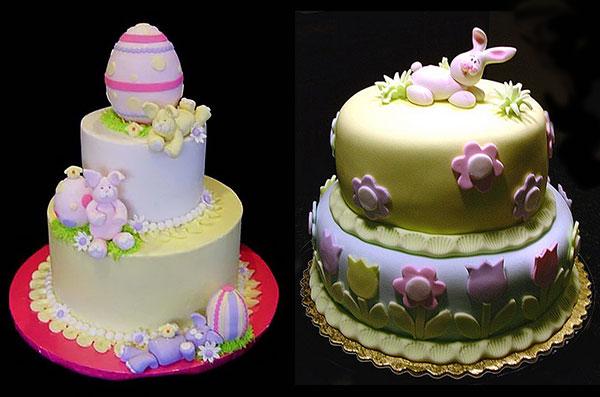 Пасхальный торт декорированный кулинарной мастикой