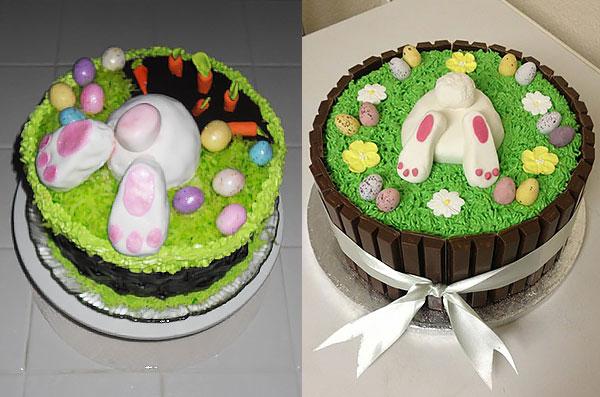 Пасхальный торт с кремом, шоколадном и фигурками из мастики