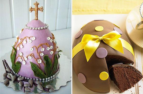 Пасхальный торт-яйцо с декором из мастики