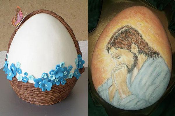 Пасхальный торт-яйцо с декором из мастики/ с рисунком по шоколадной глазури