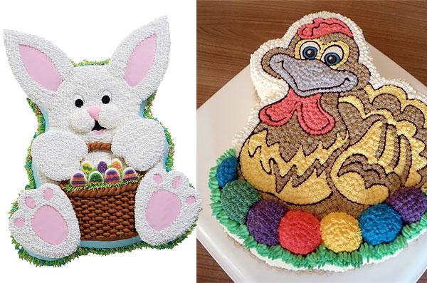 Торт в виде пасхального кролика/ пеструшки на яйцах