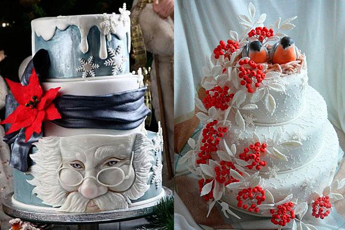 Фото тортов на Новый год с применением кулинарной мастики