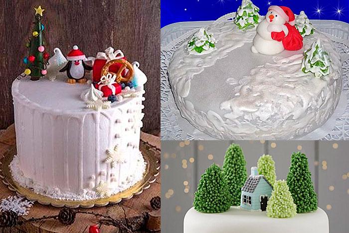 Фото Новогодних тортов оформленных кремом и глазурью с сахарными фигурками