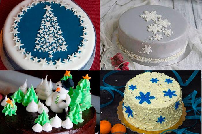 Фото Новогодних тортов с аппликацией из кулинарной мастики и кремовыми фигурками