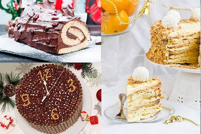 Фото тортов на Новый год, украшенные готовыми сладостями
