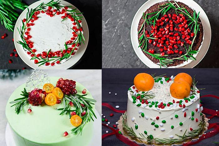 Фото Новогодних тортов с сухофруктами, ягодами и розмарином