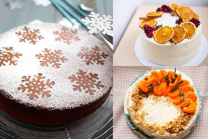 Торты на Новый год с оформлением орехами, фруктами и сахарной пудрой
