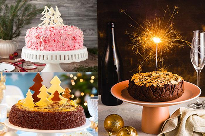Новогодние торты с айсингом и бенгальскими огнями