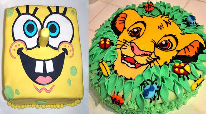 Фото детского торта с Губкой Бобом и Королем Львом
