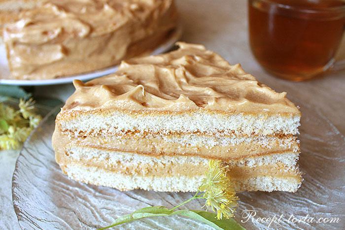 Торт из готовых коржей Сливочные волны в разрезе