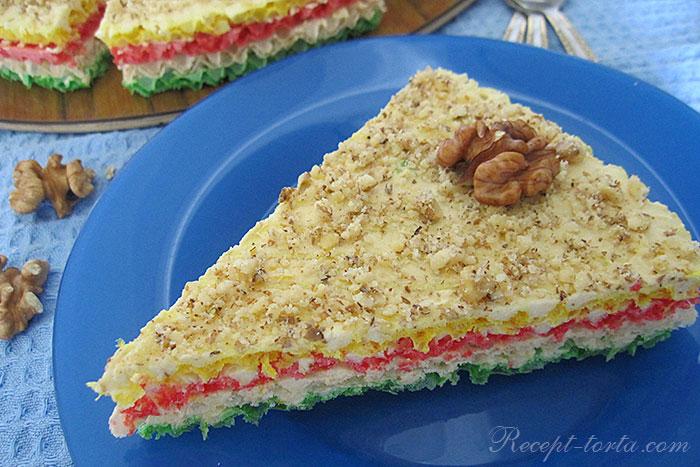 Фото торта из вафельных коржей в разрезе