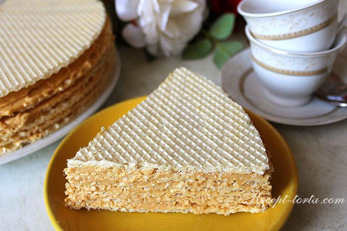 Кусок торта из вафельных коржей с варенкой в разрезе