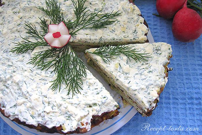 Кабачковый торт сплавленным сыром - итоговое фото
