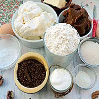 Ингредиенты для карамельного чизкейка с выпечкой
