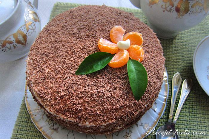 Итоговое фото шоколадного торта испеченного на сковороде