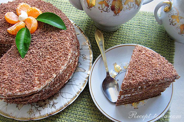 Итоговое фото шоколадного торта на кислом молоке со сливками
