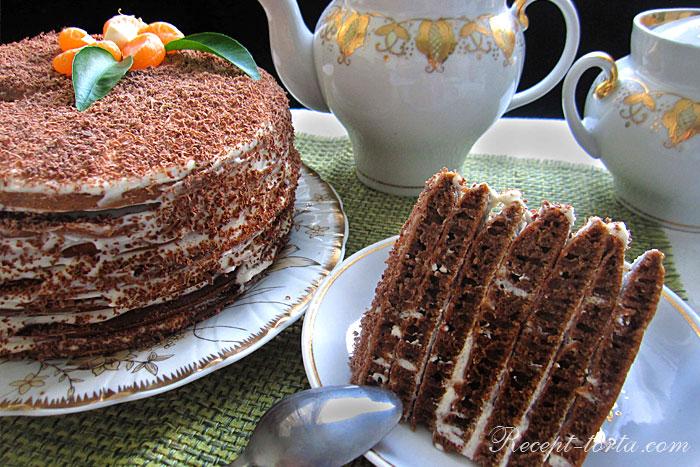 Шоколадный торт испеченный на сковороде - фото в разрезе