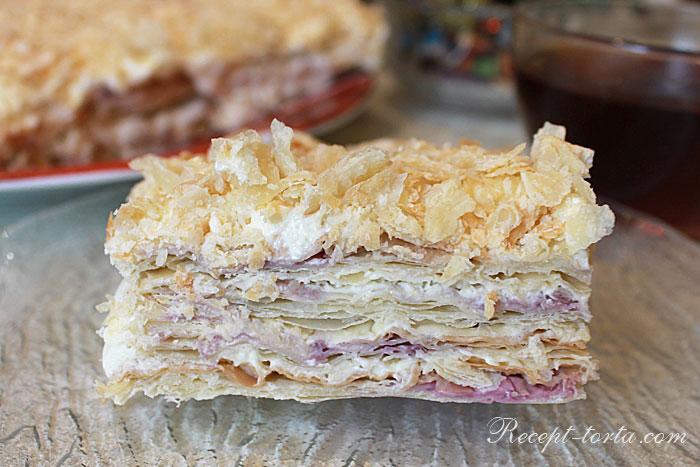 Торт Наполеон с кремом Пломбир по рецепту с пошаговыми фото