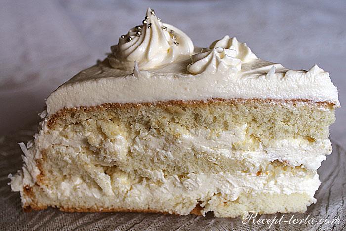 Итоговое фото нежного торта Пломбир в разрезе