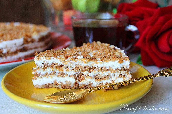 Итоговое фото куска торта Пломбир без выпечки с крошкой