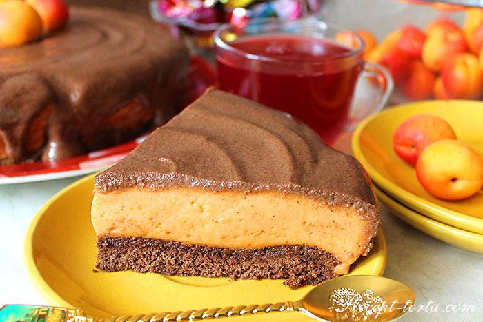 Кусочек абрикосового торта Птичье молоко