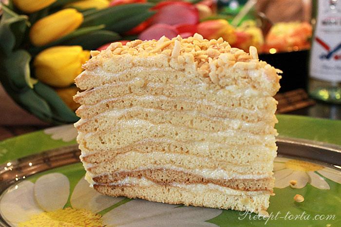 Кусочек домашнего торта Рыжик - фото