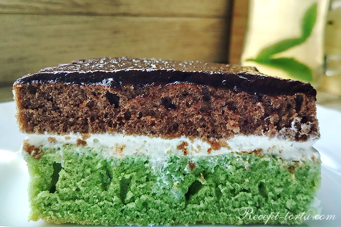 Шоколадно-мятный торт в разрезе - итоговое фото