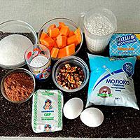 Ингредиенты для торта Брауни с творогом и тыквой