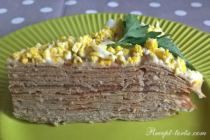Итоговое фото печеночного торта из говяжьей печени в разрезе